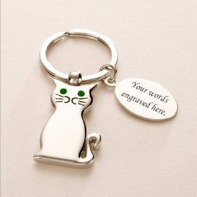 Engravable Cat Key Ring | Someone Remembered